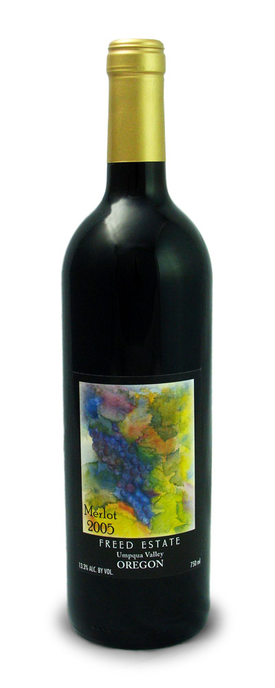 merlot wine bottle freed estate winery