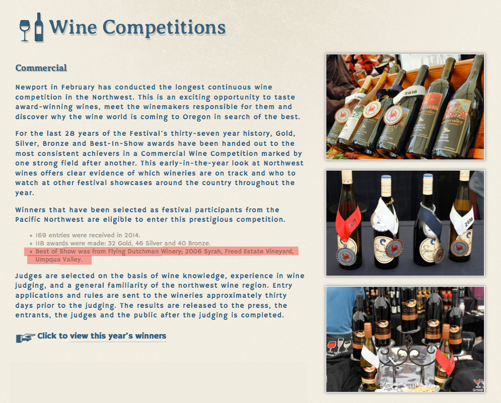 best of show commerical wine competition flying dutchman freed